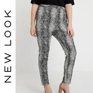 New Look Curves Snake Print Stretch Slim Leg Pants